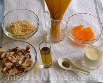 Sastojci za špagete carbonara