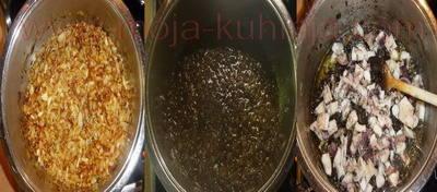 Crni mornarski rižoto od sipe dinstanje luka