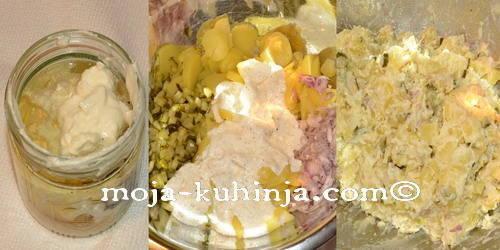 Priprema krumpir salate sa krastavcima i kiselim vrhnjem