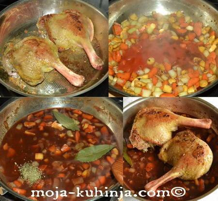 Pečenje guske sa korjenastim povrćem