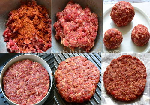 priprema mljevenog junećeg mesa za hamburger
