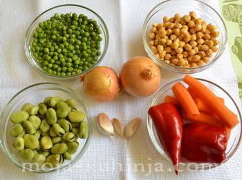 Bob, slanutak, grašak, mrkva, paprika