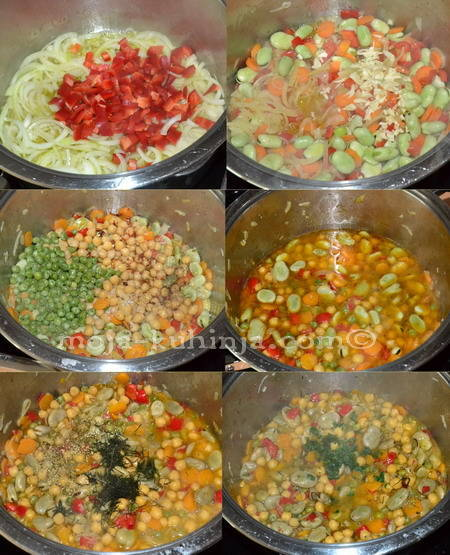 Priprema jadranskog složenca od boba, slanutka i graška