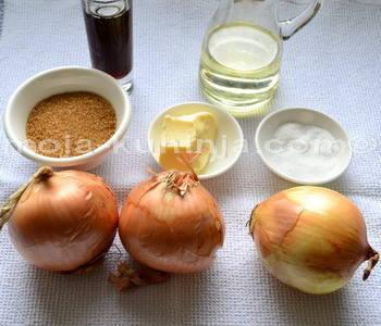 Sastojci za karamelizirani luk, džem od luka