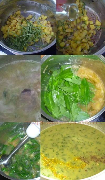 Priprema za krem juhe od medvjeđeg luka, srijemuša