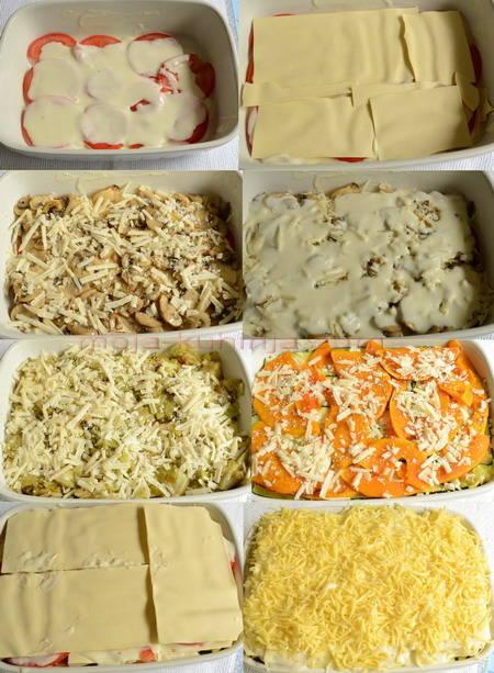 Slaganje povrća za vegetarijanske lazanje