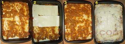 Lazanje, Lasagne bolognese slaganje