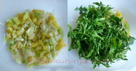Salata od maslačka sa krumpirom i mladim lukom priprema
