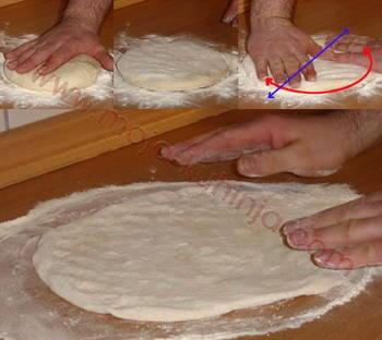 Tijesto za pizzu razvlačenje tijesta