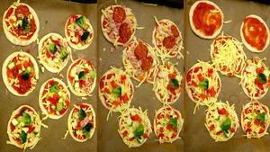 Pizzete picete slaganje sastojaka