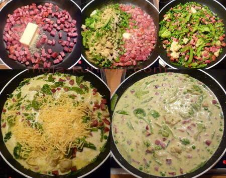 Povrće u umaku od sira i sušene vratine priprema