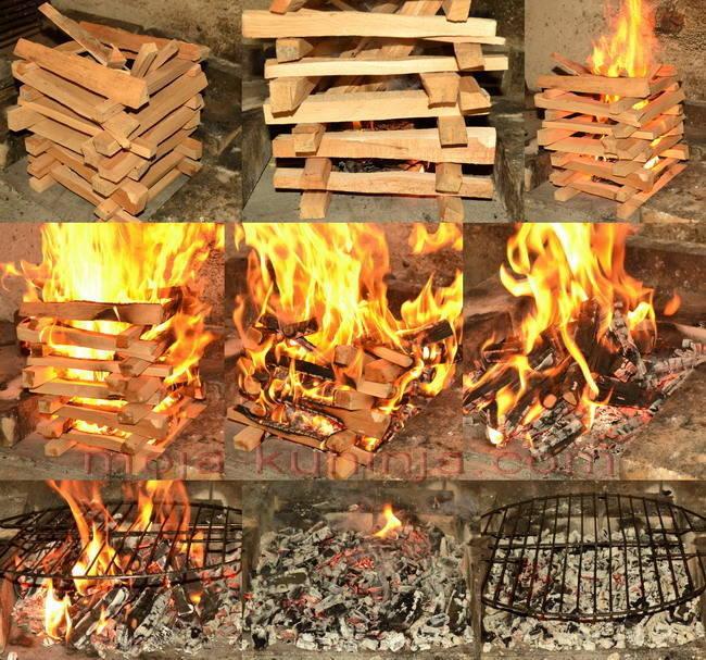 priprema žara i vatre za roštilj