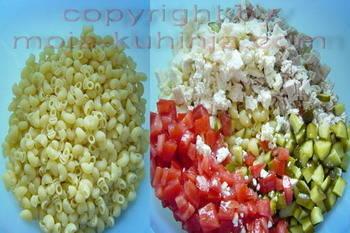 Tjestenina salata sa povrćem i puretinom priprema