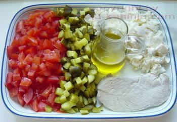 Tjestenina salata sa povrćem i puretinom sastojci