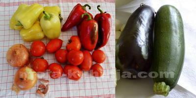 Paprike, luk, paradajz, češnjak, tikvice i patliđan za sataraš