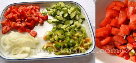 Zelena i crvena paprika, krastavac i paradajz za šopsku salatu