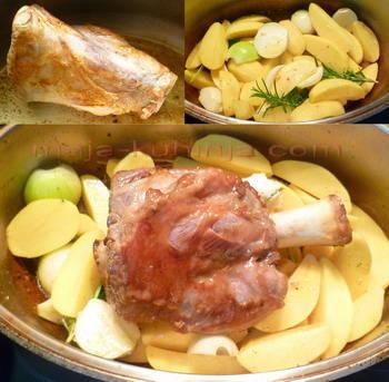 Priprema teleće koljenice i krumpira pod pekom