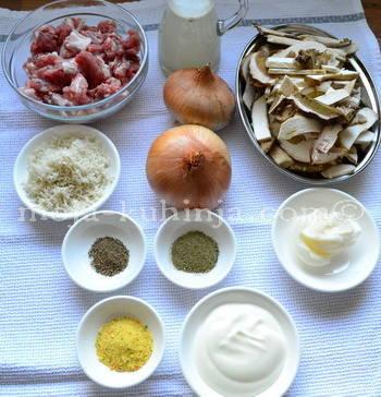 Sastojci za umak od vrganja i teletine sa hrenom i vrhnjem