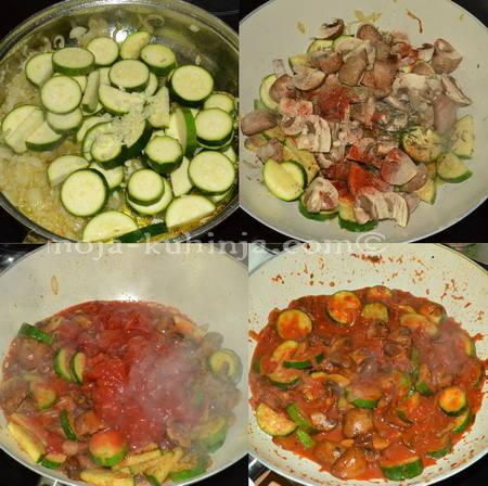Priprema dinstanih tikvica i šampinjona u woku