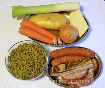 Leća, suho meso, povrće za juhu