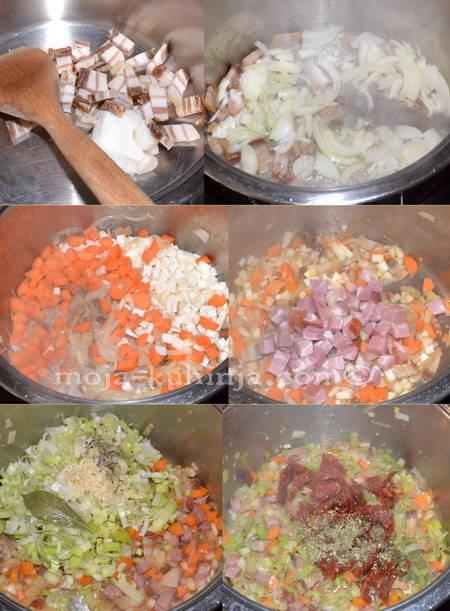 Priprema povrća za varivo od leće, linsentopf