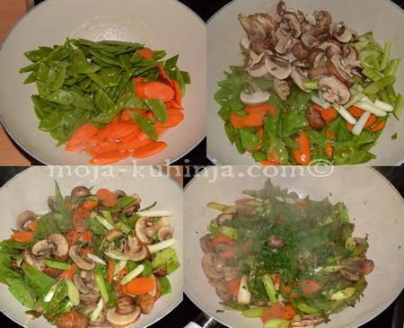 Priprema hrskavog povrća u woku
