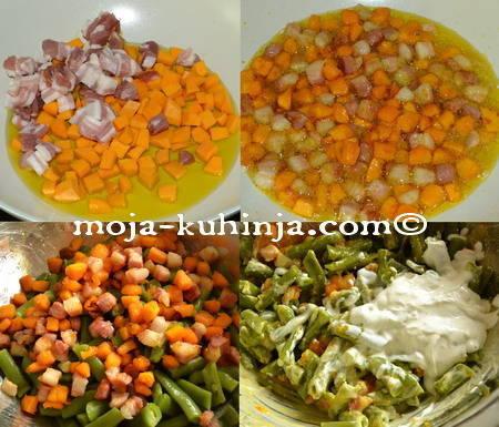 Priprema salate od mahuna sa hokaido tikvom