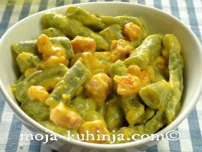 Priprema salate od mahuna i hokaido tikvom