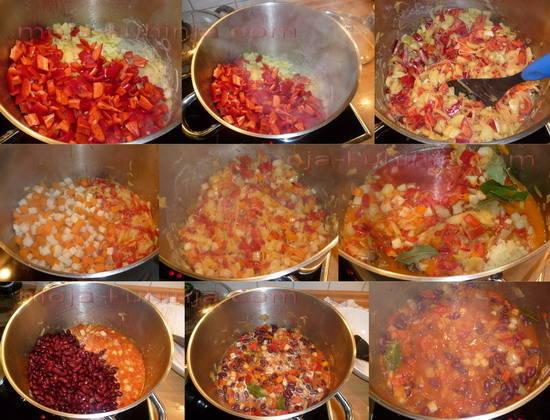 Priprema grah salate sa povrćem